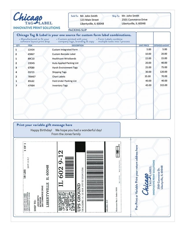 Integrated Label Forms From Chicago Tag