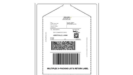 Chicago Tag and Label auto applied enclosed packing list