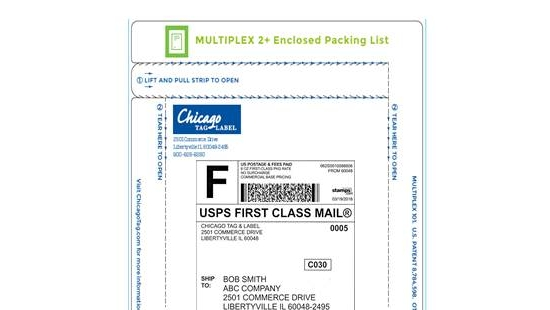 Chicago Tag and Label manually applied enclosed packing list